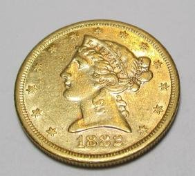1882 S BETTER DATE $ 5 Gold Liberty Half Eagle