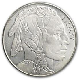 1 Troy Ounce .999 Pure Silver Buffalo Design Round