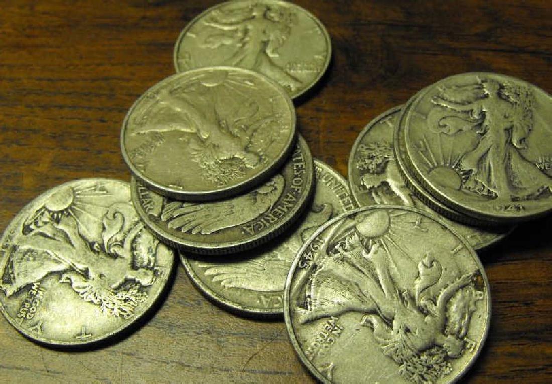 Lot of 10 Walking Liberty Halves-