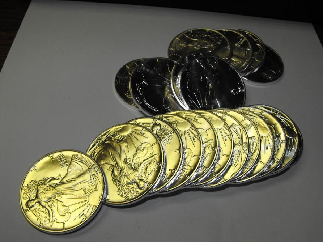 Roll of 20 Assorted Date Silver Eagles-UNC