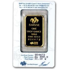 1 oz. Pamp or Credit Suisse Ingot on Card