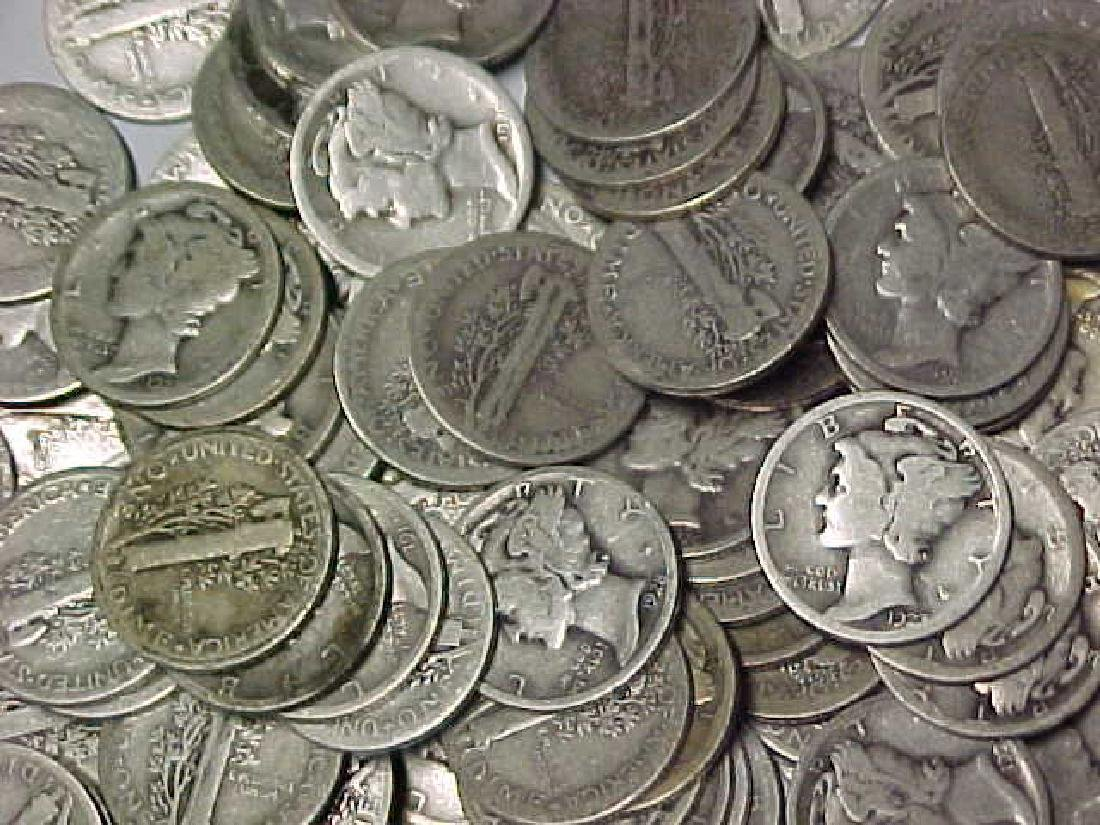 Lot of 100 Mercury Dimes- Circulated