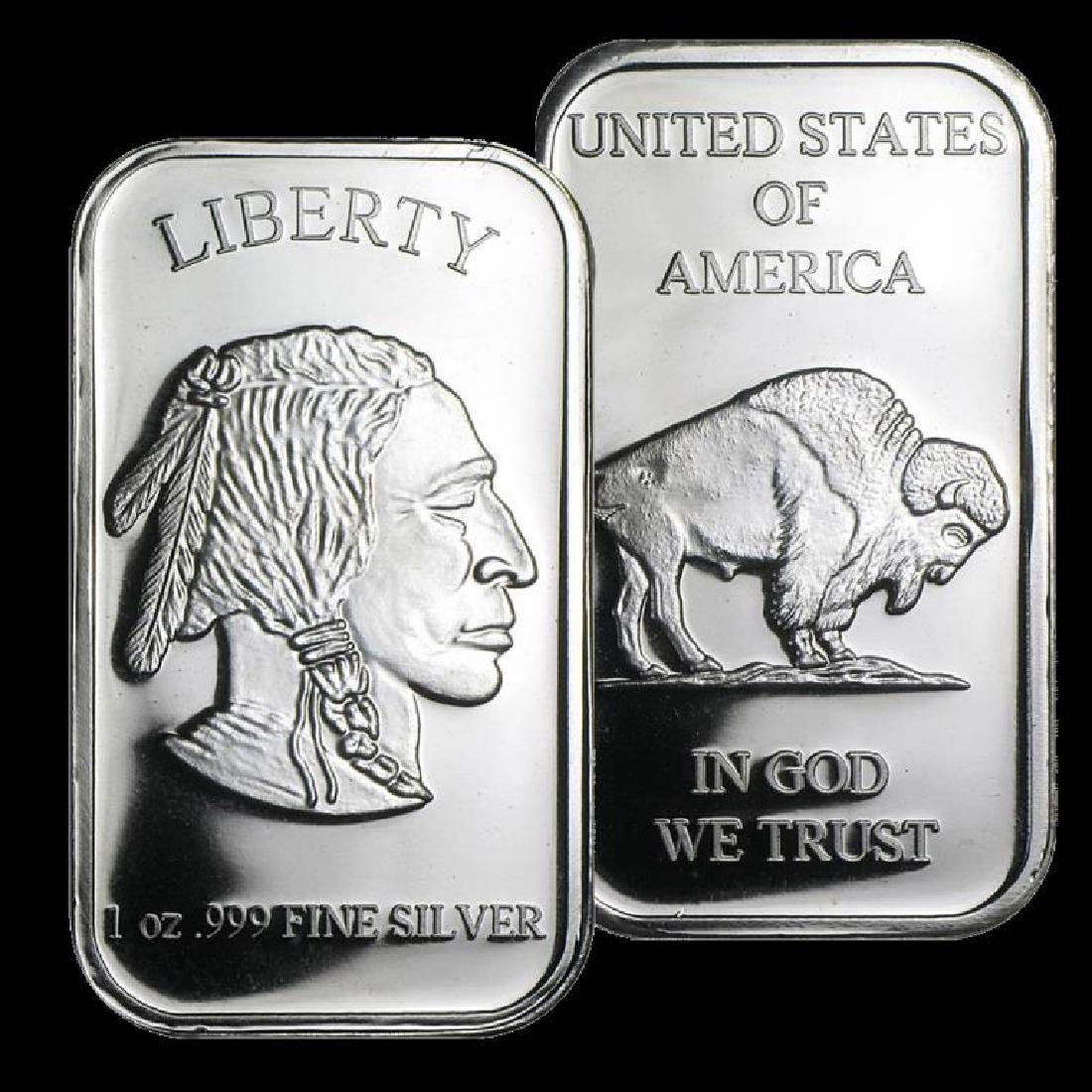 1 troy ounce Silver Buffalo Design Bar