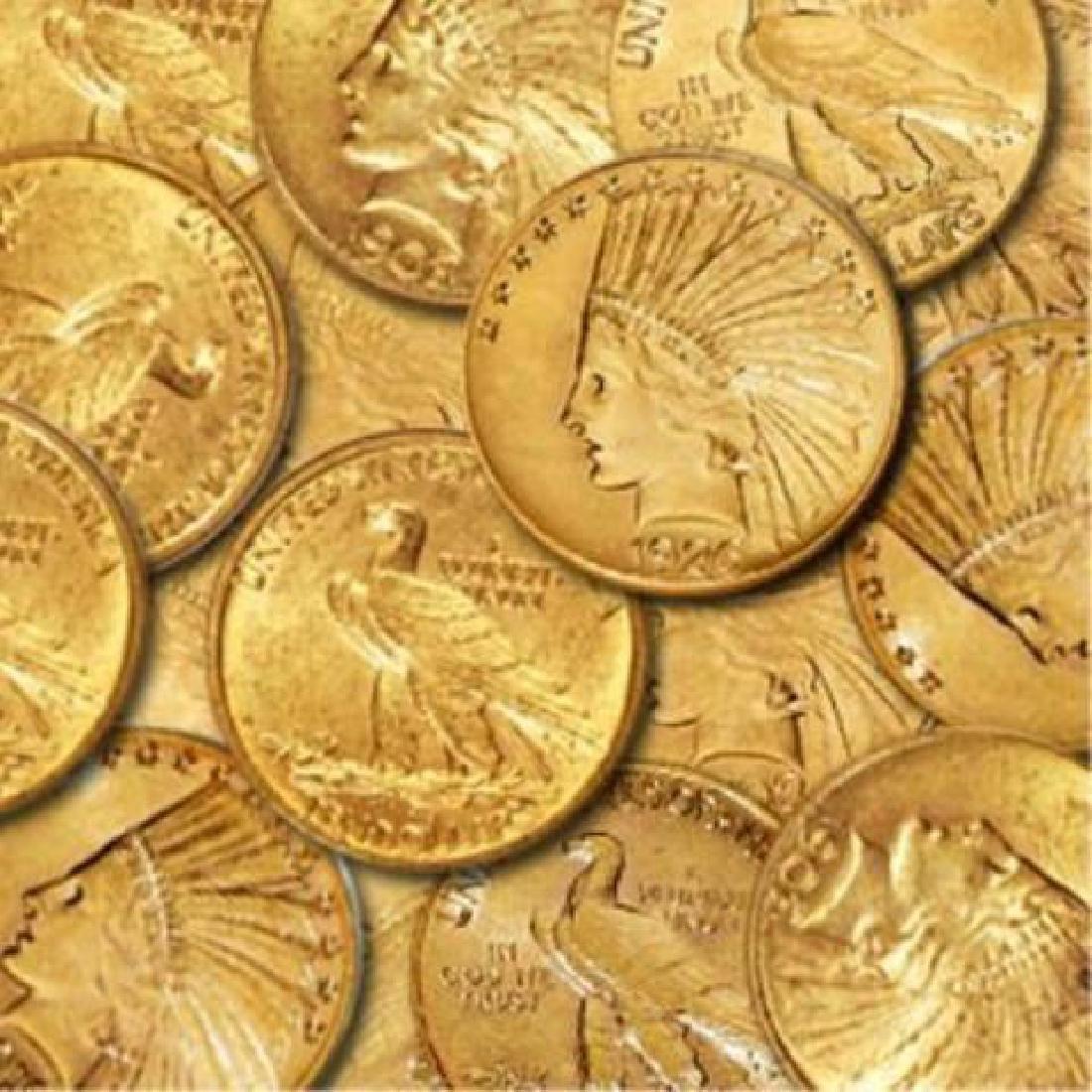 (5) $10 Gold Indians Random Dates- XF AU