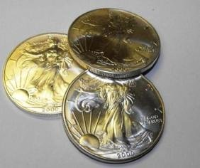 Lot of (3) US Silver Eagles 1 oz.