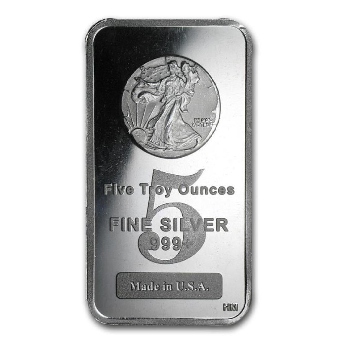 5 Oz. Pure Silver Walking Liberty Design Bar
