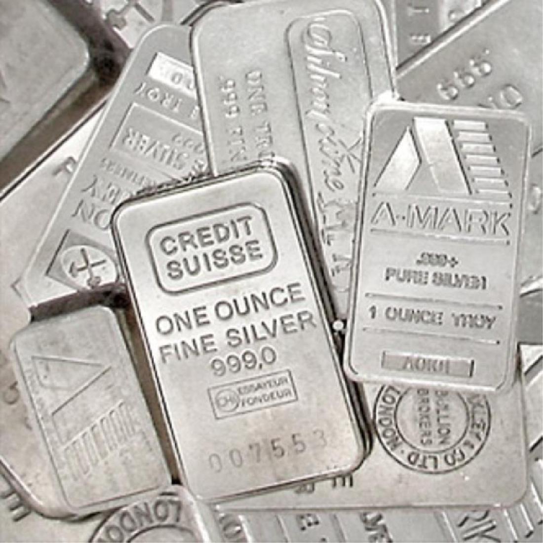Lot of (10) Mixed maker 1 oz Silver bars
