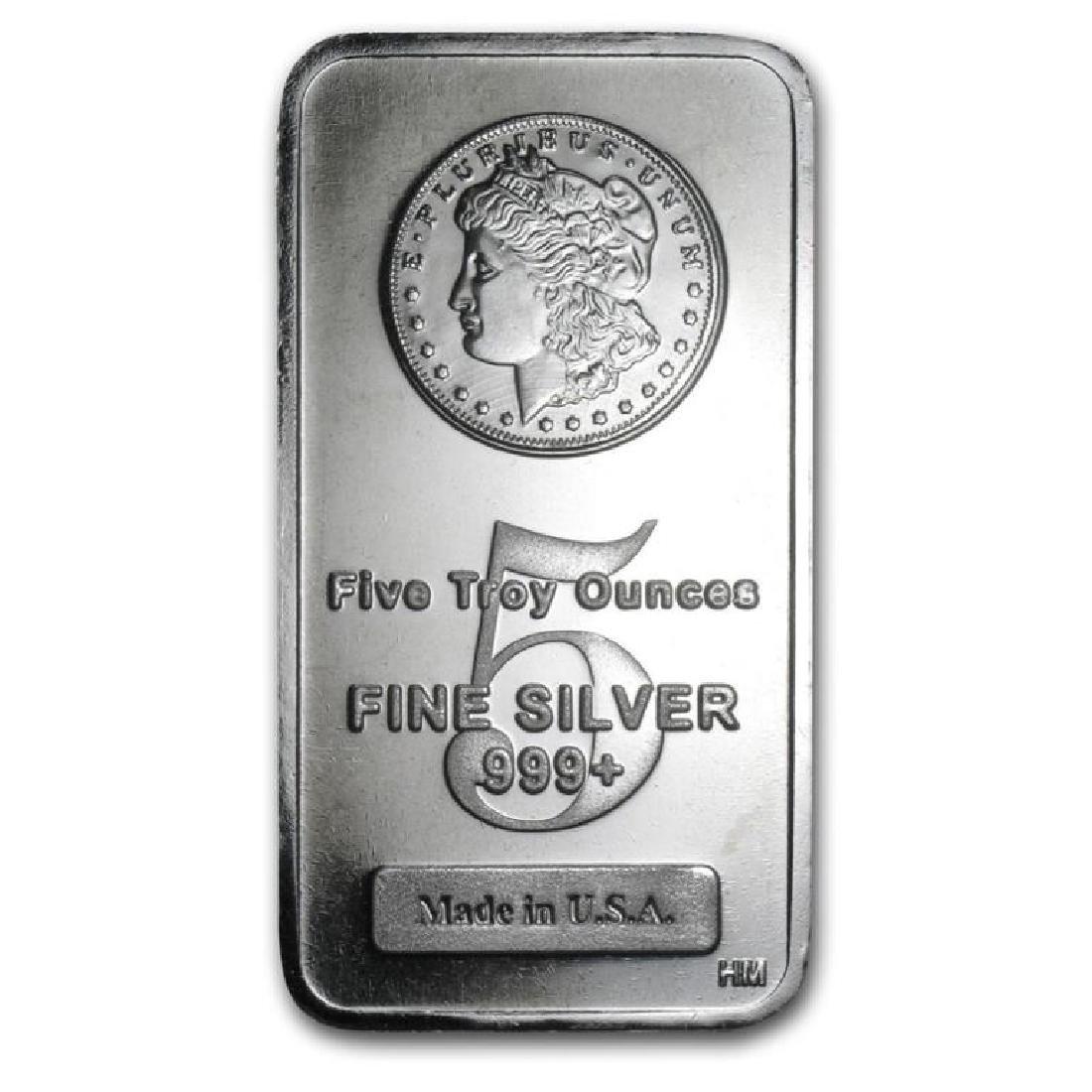 5 oz. Silver Morgan Design Bar .9999 pure