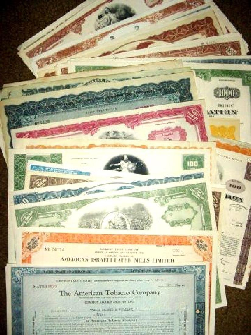 Lot of 50 Obsolete Stock Certificates- Great Artwo