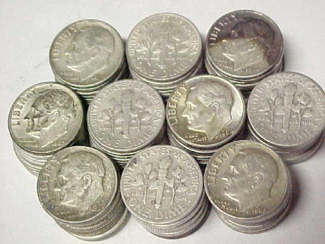(100) Roosevelt 90% Silver Dimes -
