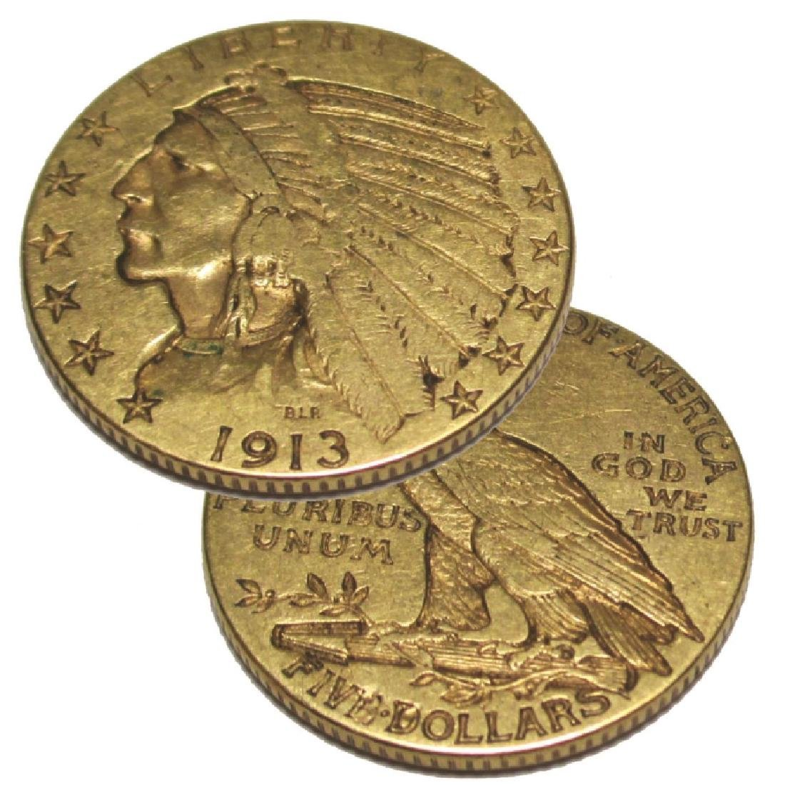 1913 Better Date $ 5 Gold Indian