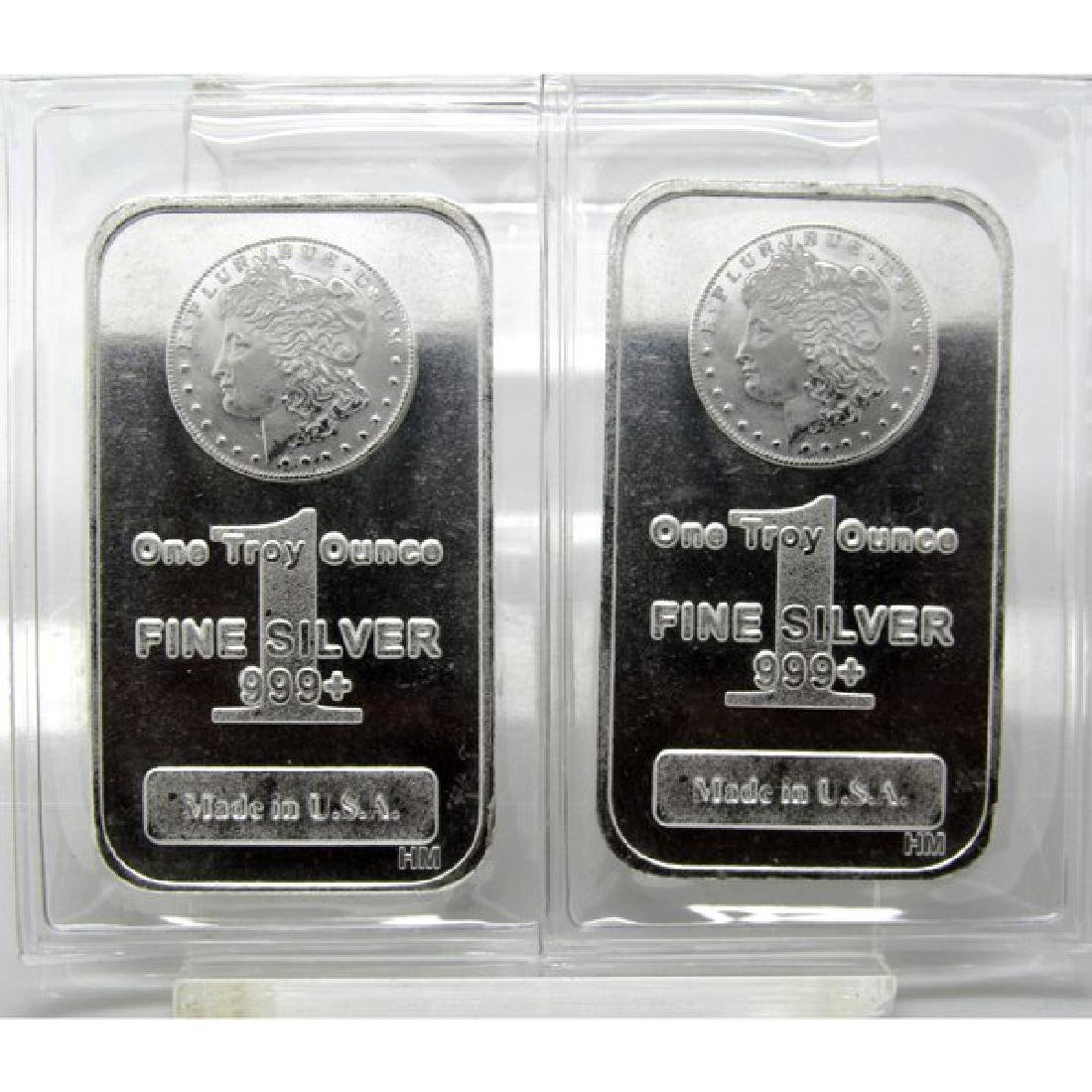 (2) 1 oz. Morgan Design Silver Bars
