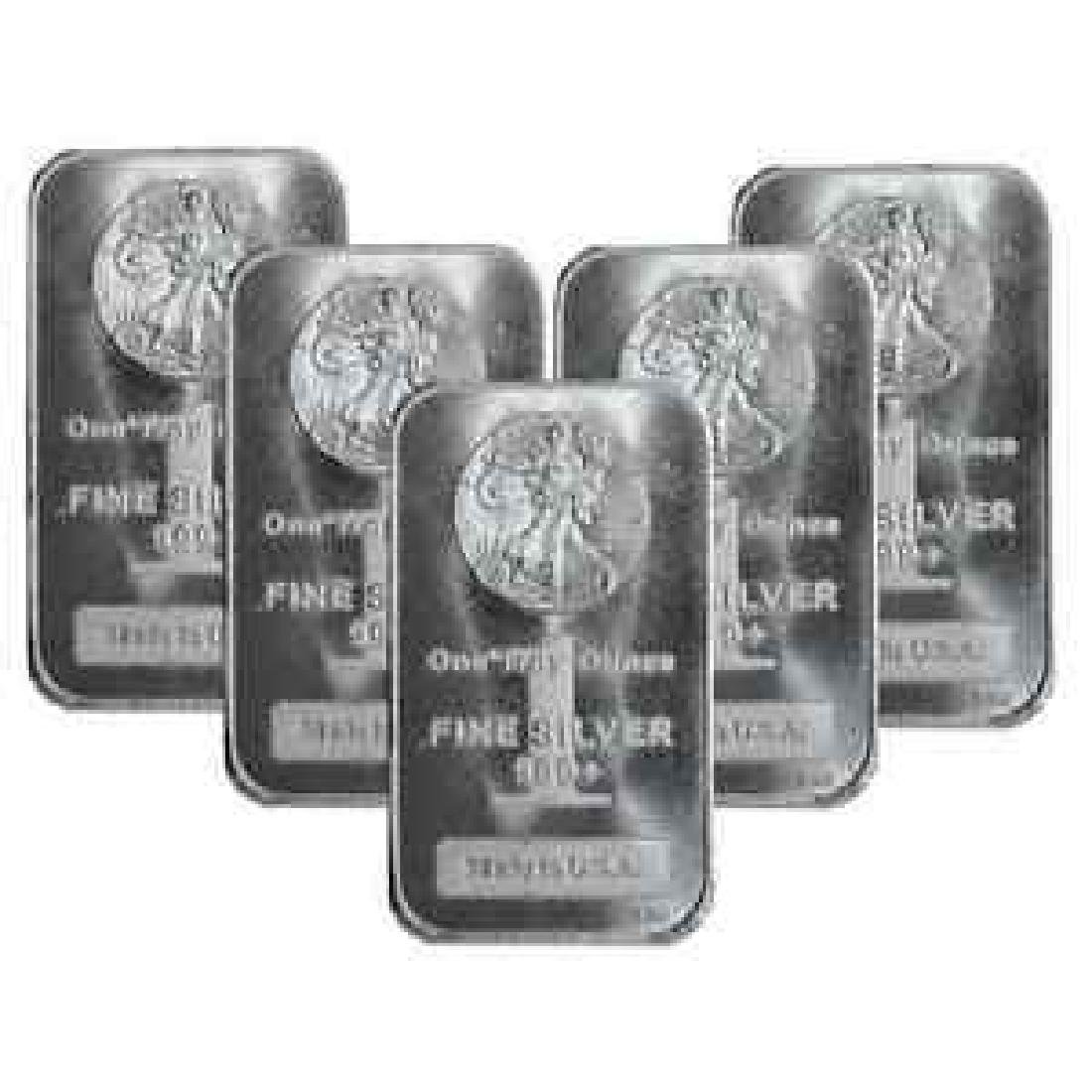 (5) 1 oz. Walking Liberty Silver Bars
