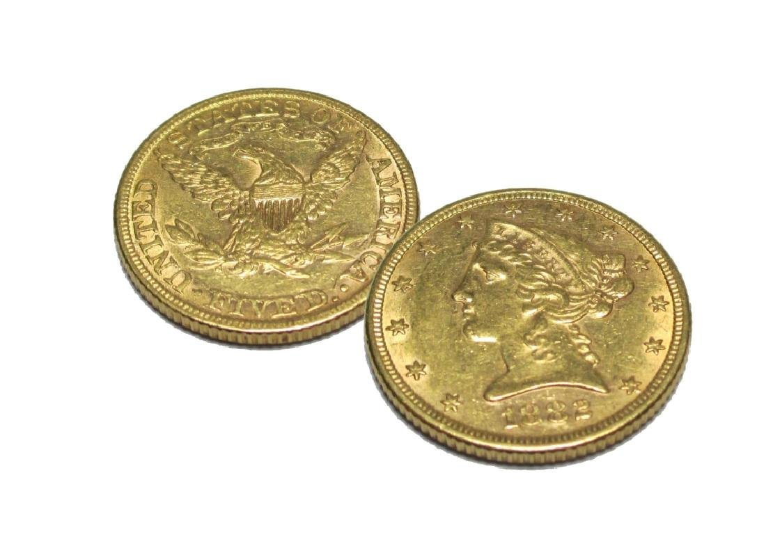 1882 P $5 Gold Liberty Half Eagle