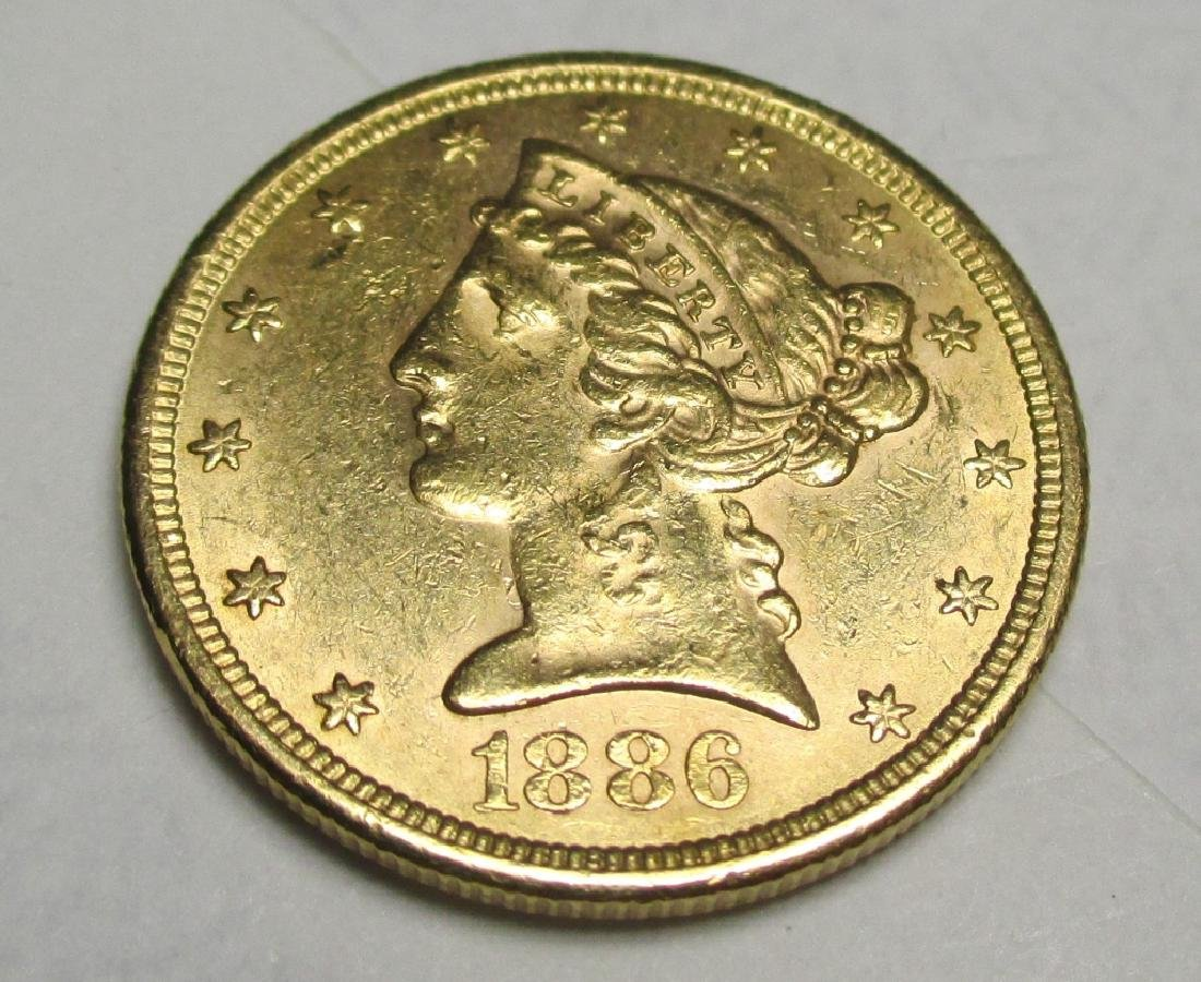 1886 S Better Date $5 FIVE Gold Liberty Half Eagle