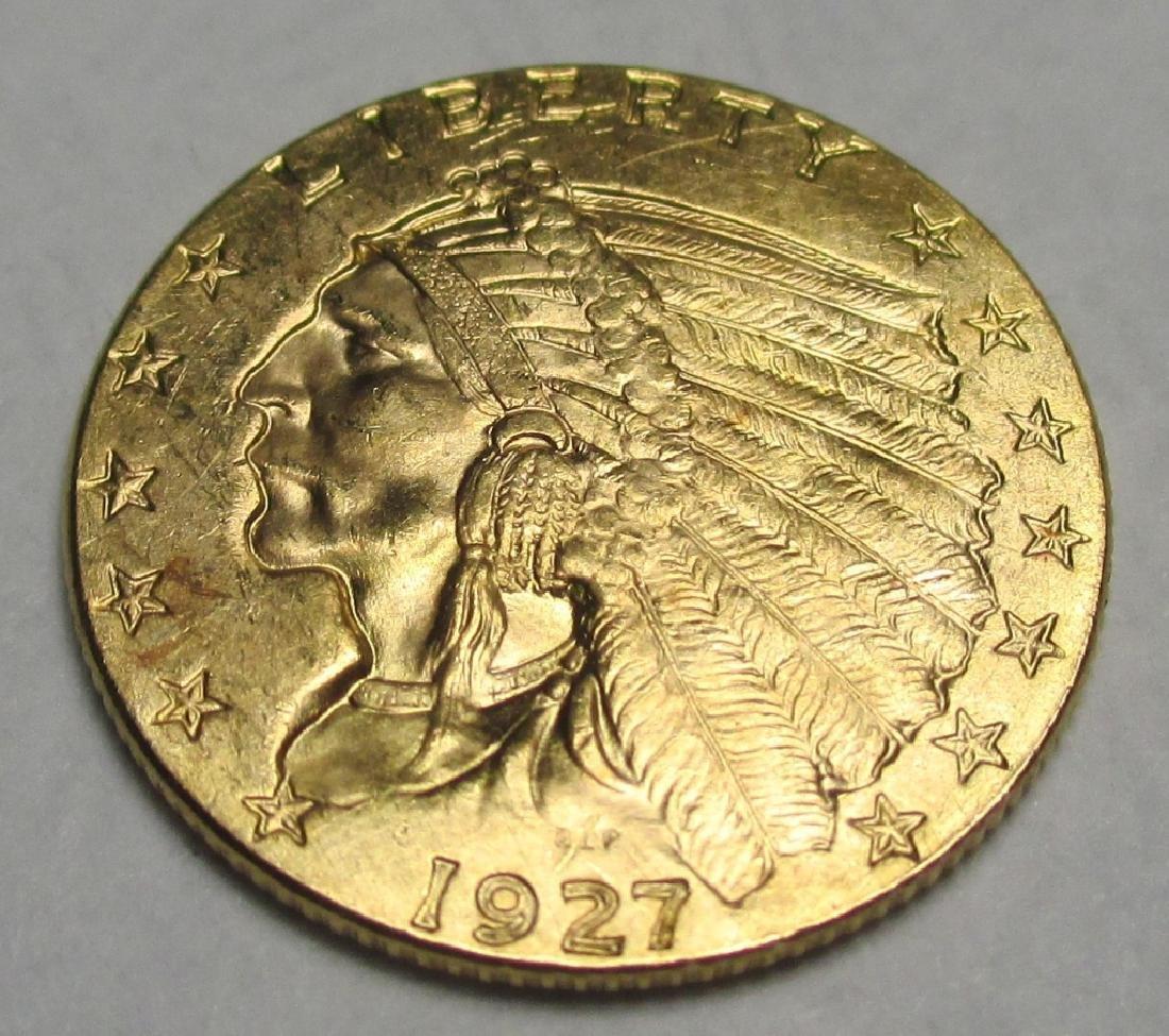1927 Better Grade $2.5 Gold Indian Quarter Eagle