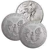 (3) Random Date US Silver Eagles