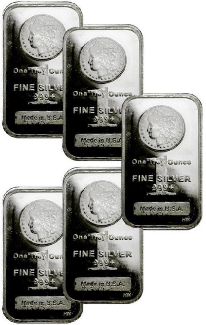 (5) 1 oz. Morgan Design Silver Bars