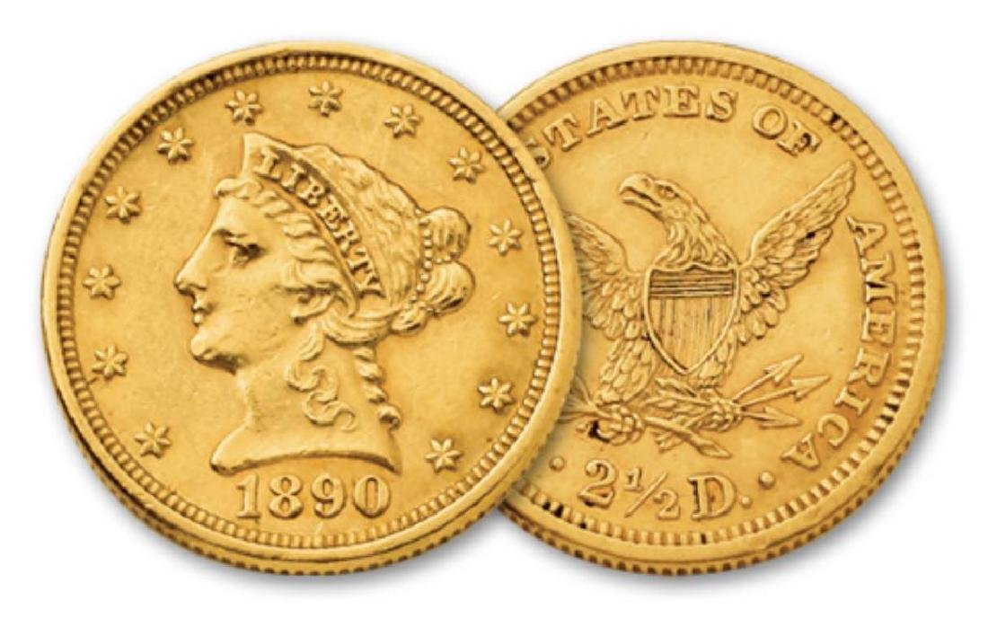 1890 $ 2.5 Gold Liberty Quarter Eagle