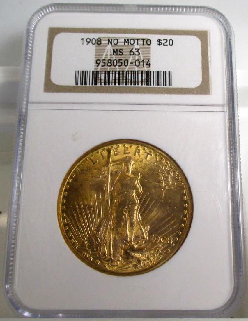 1908 NM MS 63 NGC $ 20 Gold Saint