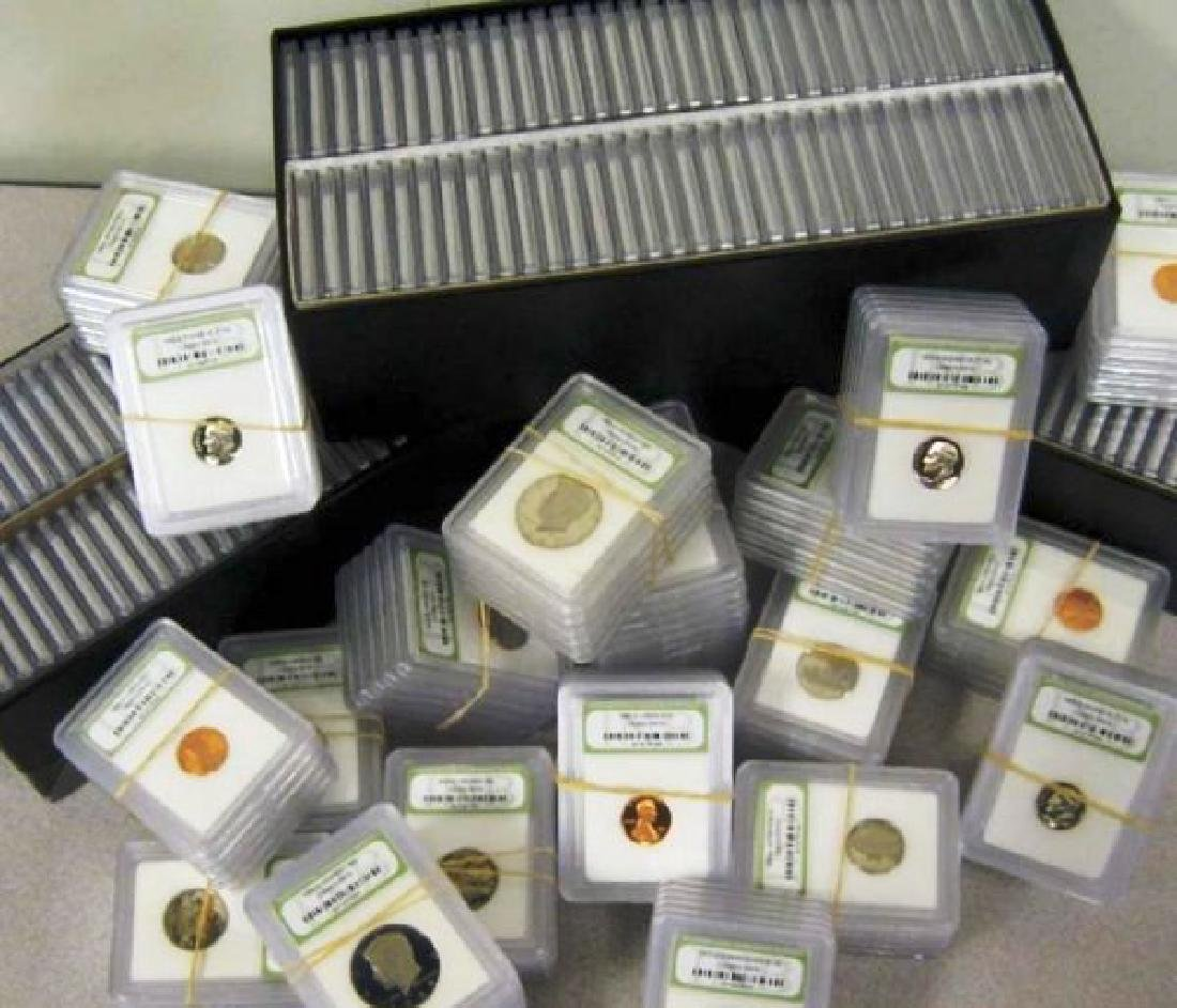 100- INB Graded BU and Proof Coins in Cases