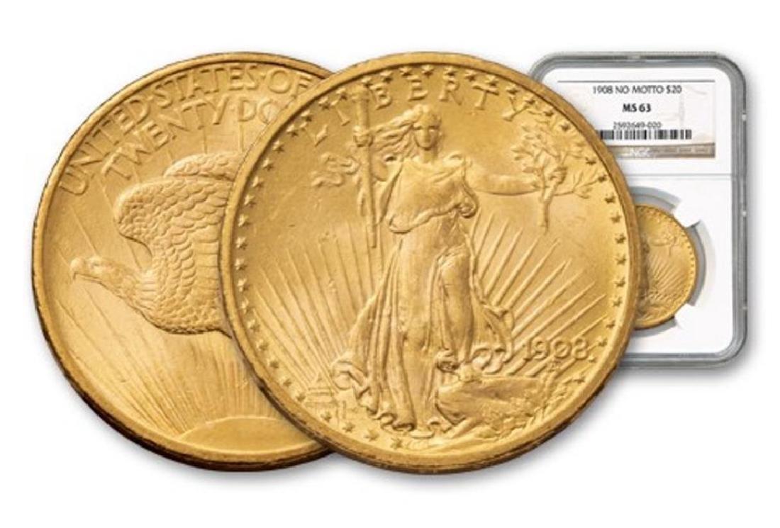 1908 NM MS 63 NGC $ 20 Gold Saint Gauden's