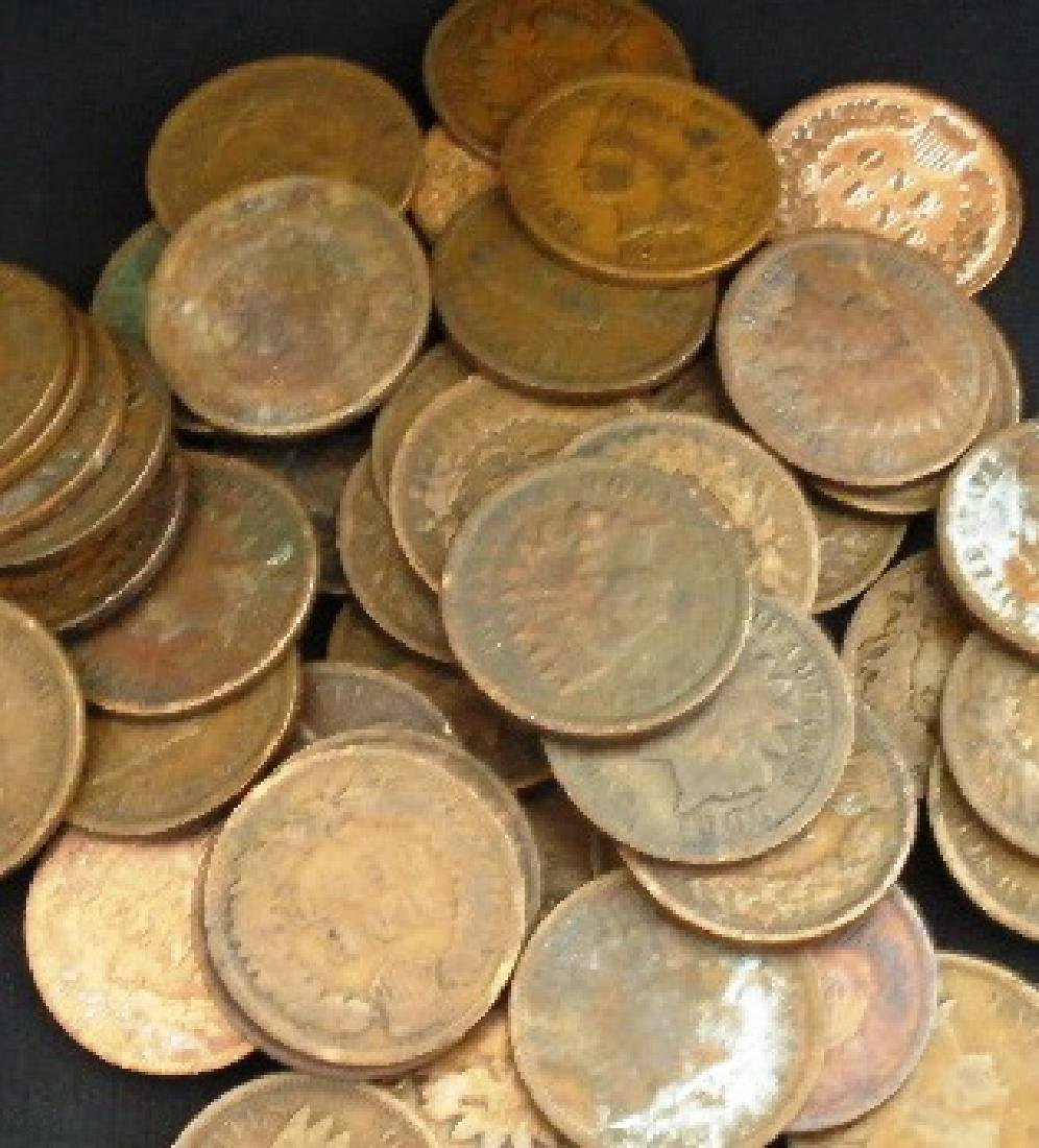 Lot of 10 Indian Head Pennies-1900s-cleaned