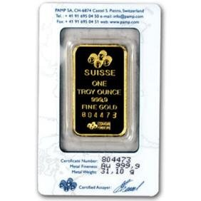 Pamp/Credit  Suisse 1 oz. Gold Bar .9999 Pure