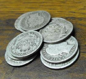 Lot of (10) 1900's Barber Dimes-