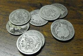 Lot of (10) Early 1900's Barber Dimes-