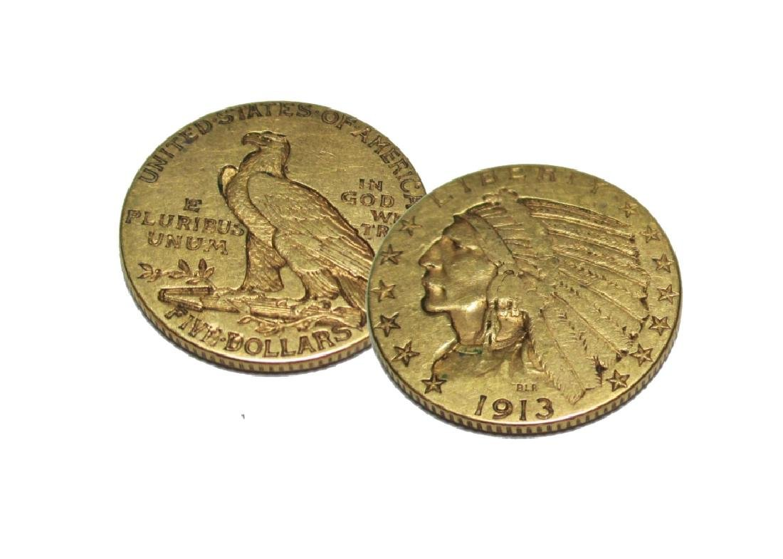 1913 $5 Gold Indian Half Eagle