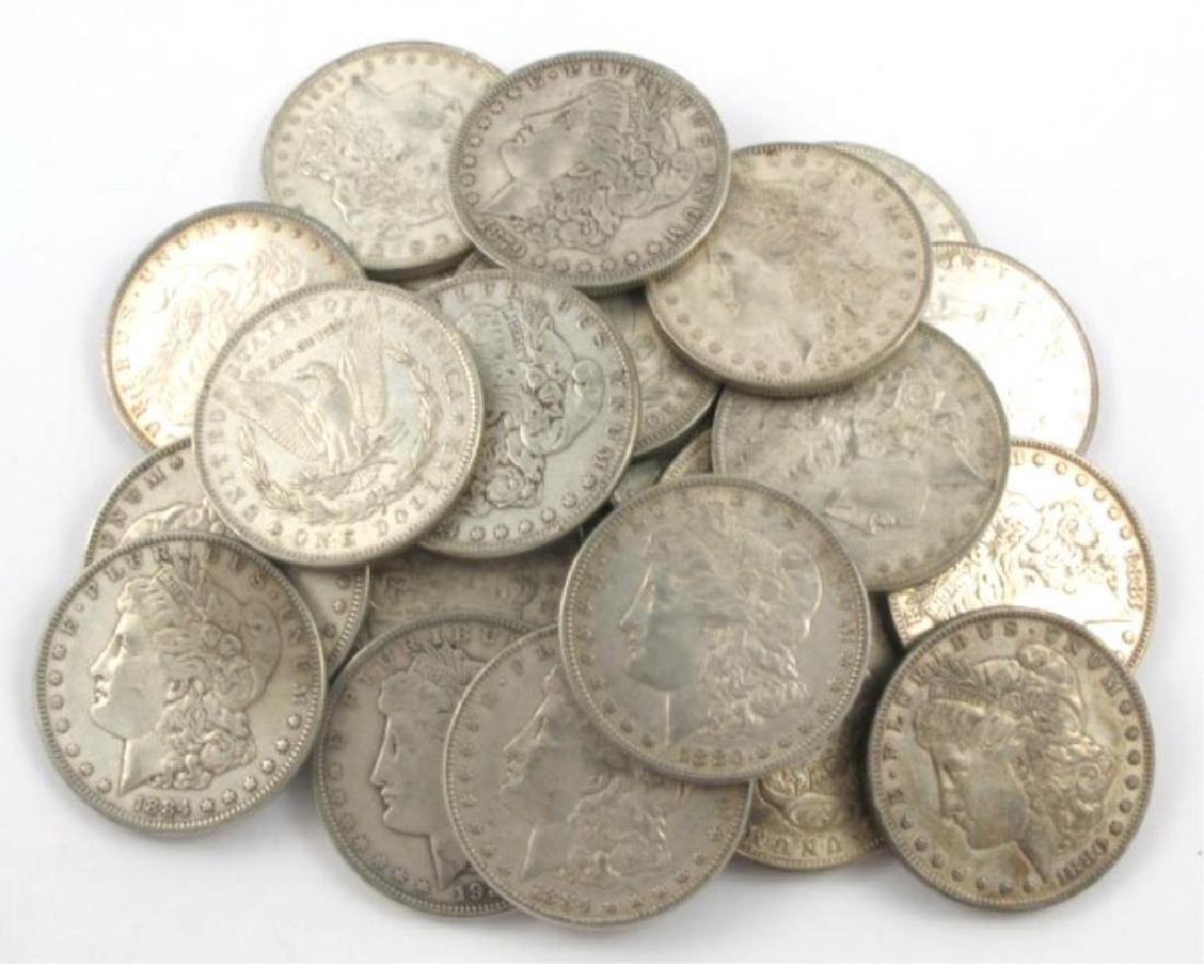 (20) F-XF Mixed Dates Morgan Silver Dollars