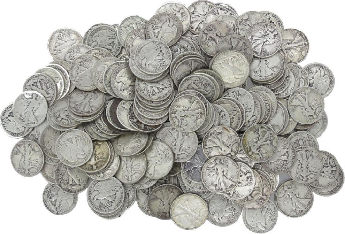 (100) Walking Liberty Half Dollars - 90% Silver