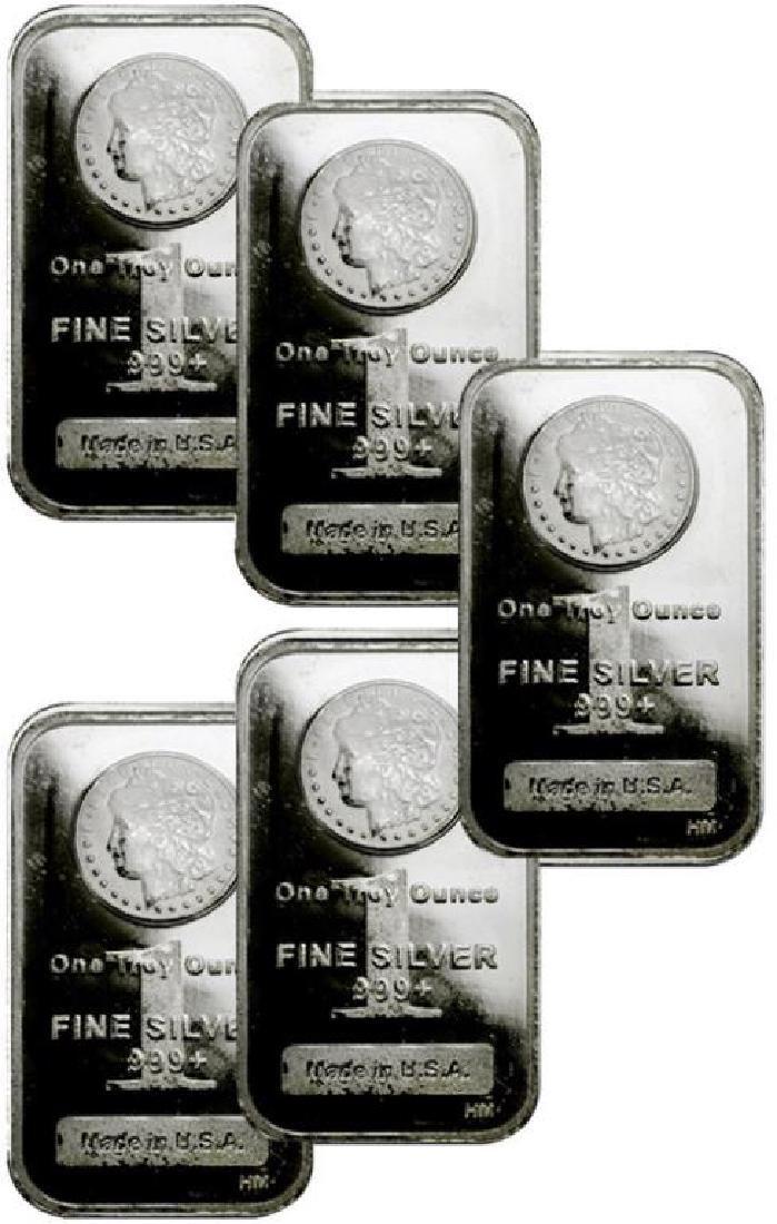 (5) 1 oz. Silver Morgan Design Bars