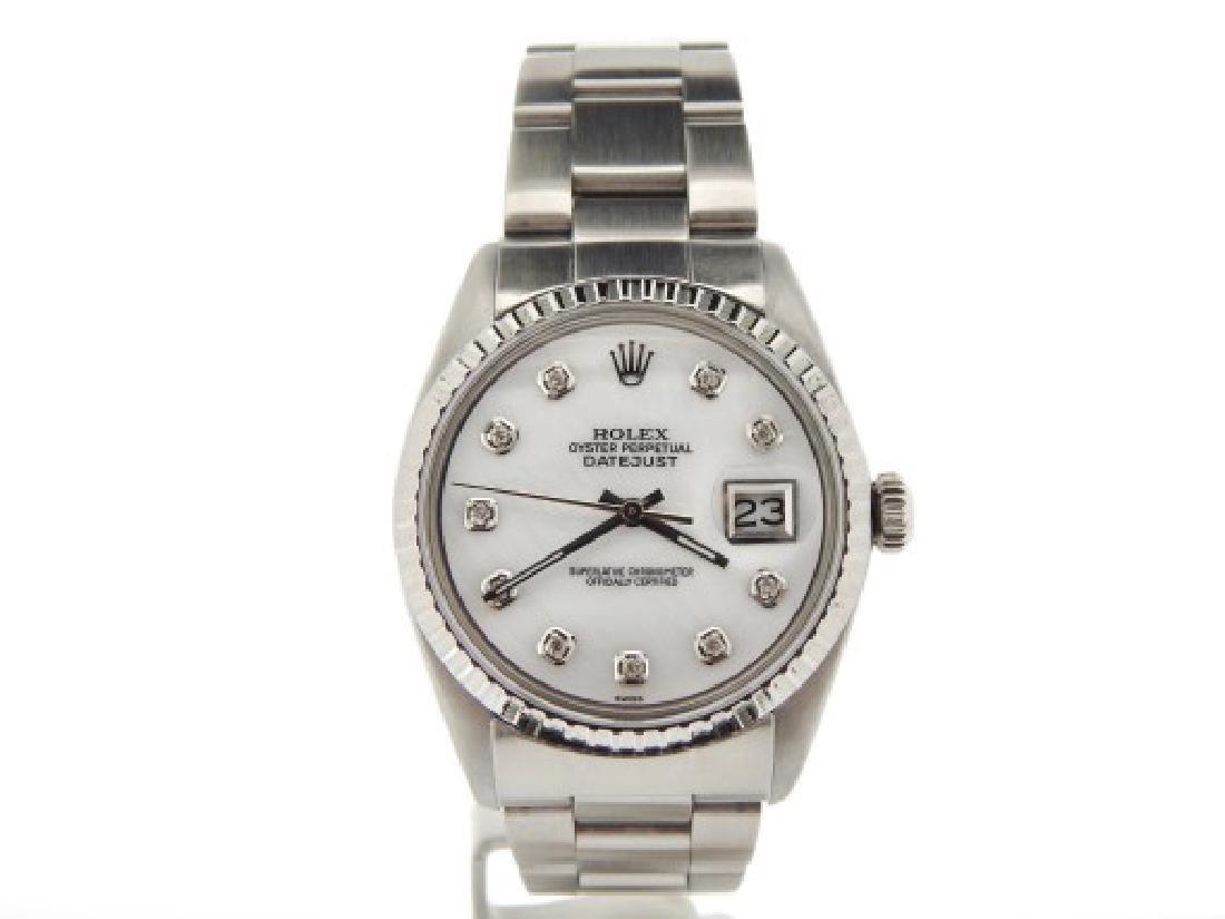 Mens Rolex Stainless Steel Datejust White MOP Diamond
