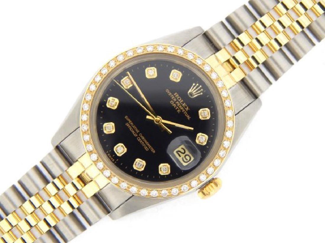 Mens Rolex Two-Tone 14K/SS Date Black Diamond 1505