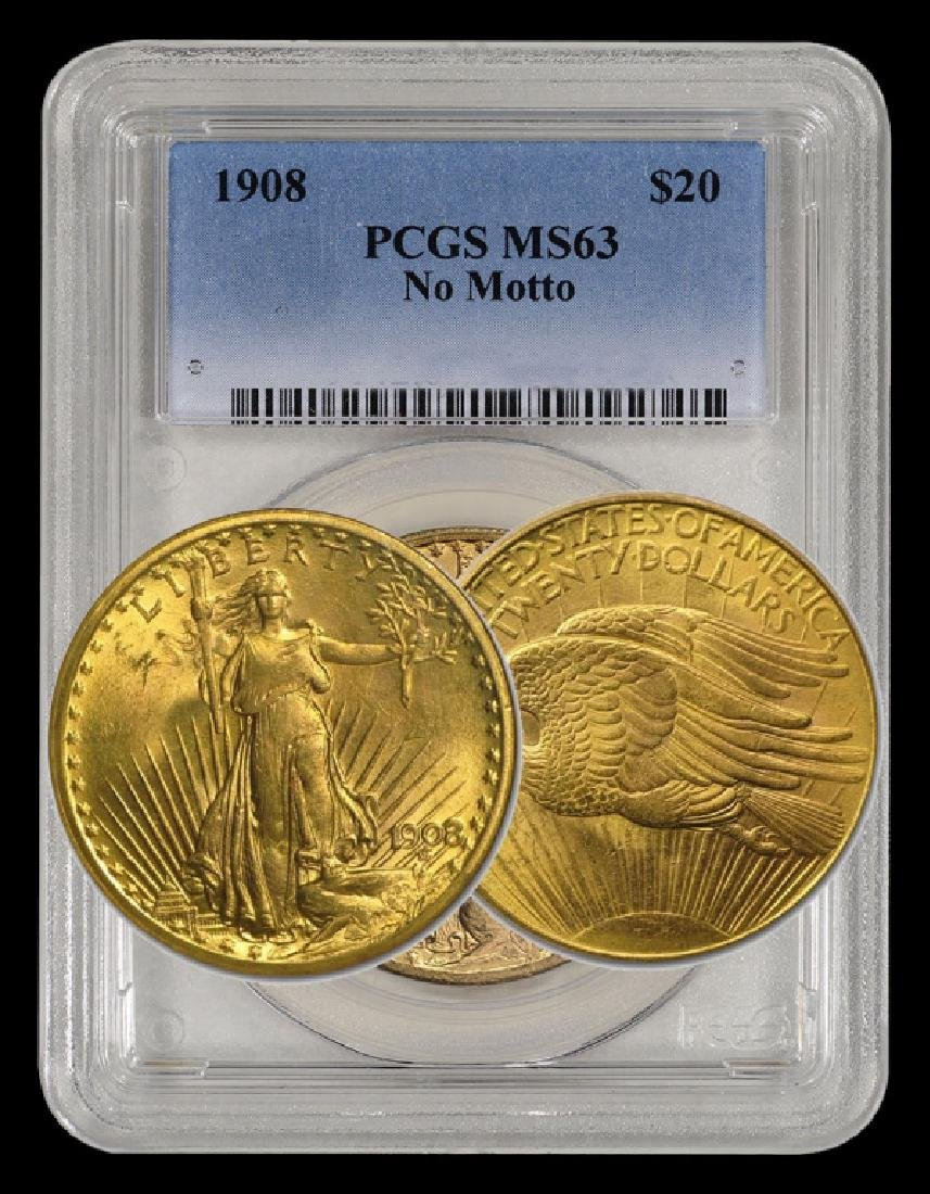 1908 NM MS 63 PCGS $20 Gold Saint Gaudens
