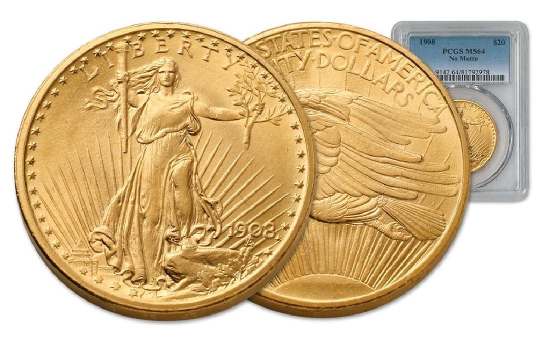 1908 NM MS 64 PCGS $20 Gold Saint Gaudens