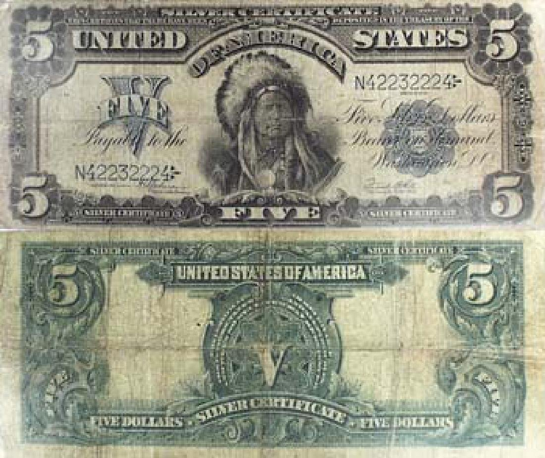 1899 Indian Chief $5 Silver Certificate - G-VG
