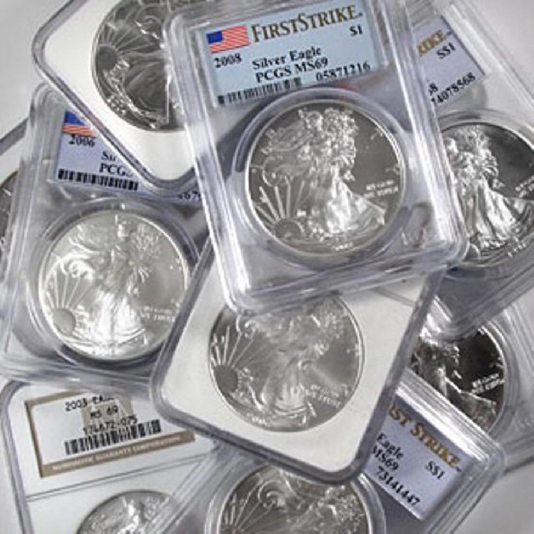 (10) MS 69 US Silver Eagles - Random Dates