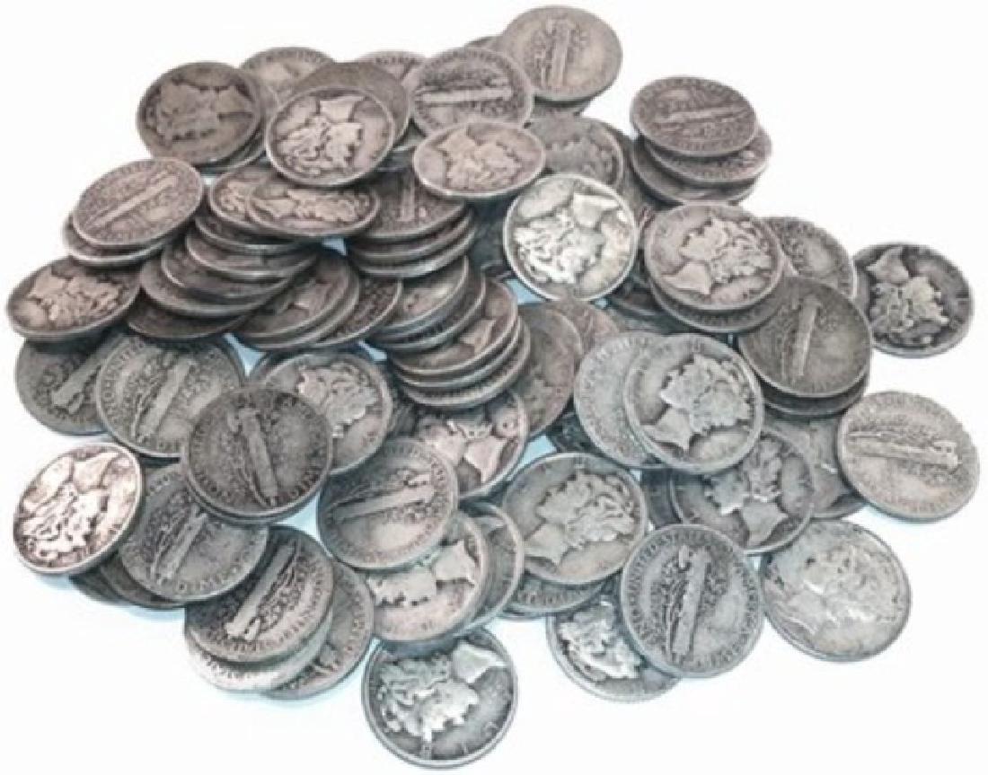 (50) Mercury Dimes - Random Dates- 90% Silver