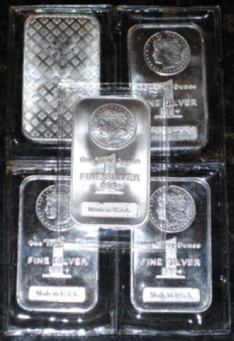 (5) Silver Bars - Morgan Design -