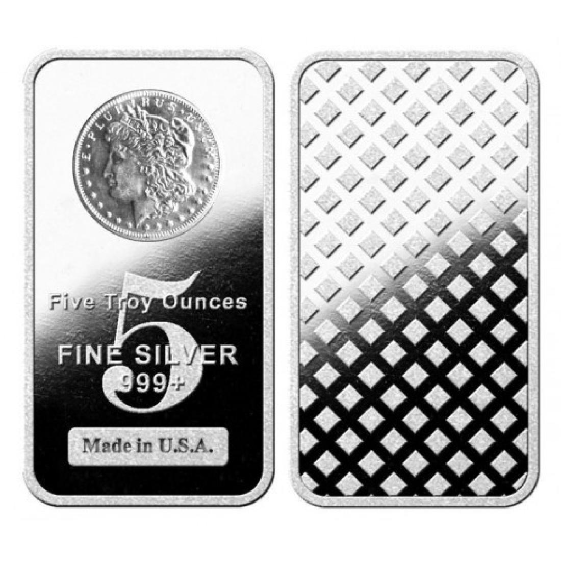5 oz. Morgan Design Silver Bar- .999 Pure