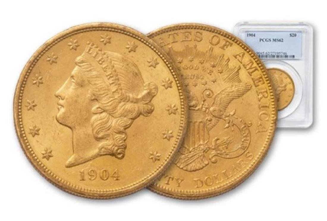 1904 MS 62 $ 20 Gold Liberty Double Eagle PCGS