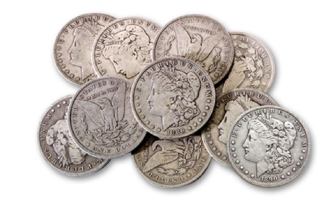 Lot of (10) Morgan Silver Dollars from cache
