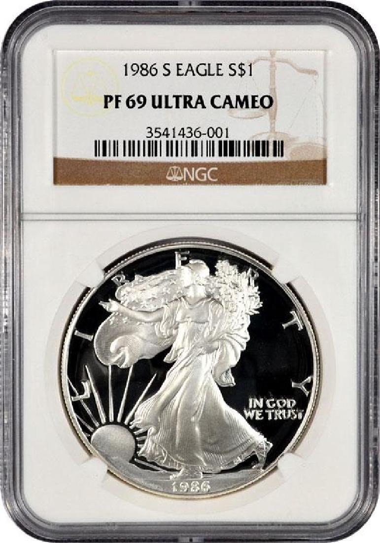 1986 PRF69 Ultra Cameo Proof Silver Eagle NGC-