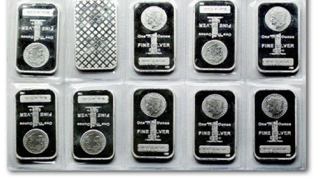 (10) Morgan Design Pure Silver Bars - .999