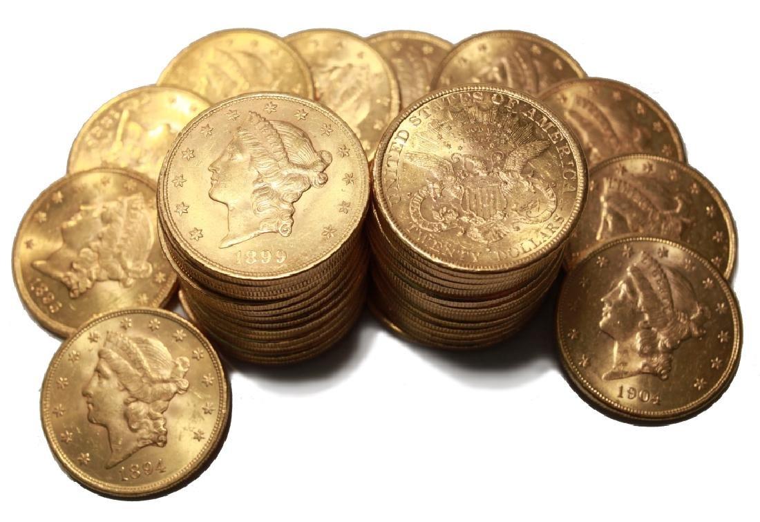 (1) Random Date $20 Gold Liberty AU Plus