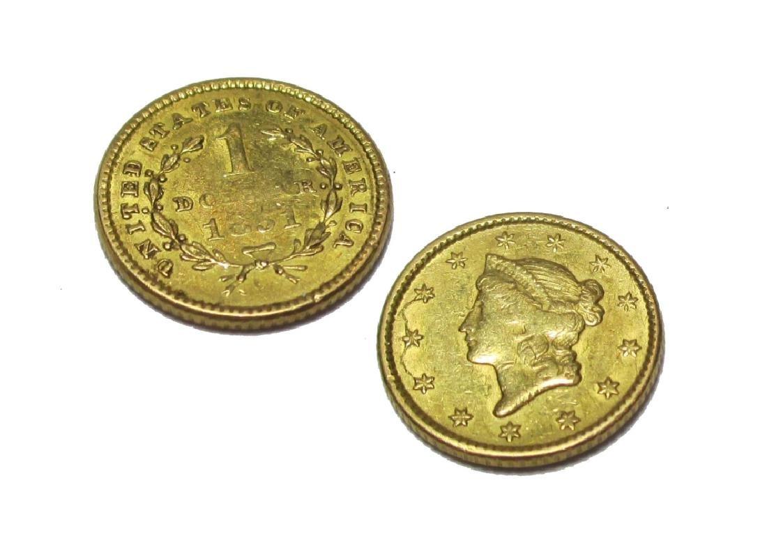 1851 $1 Gold Liberty Type I