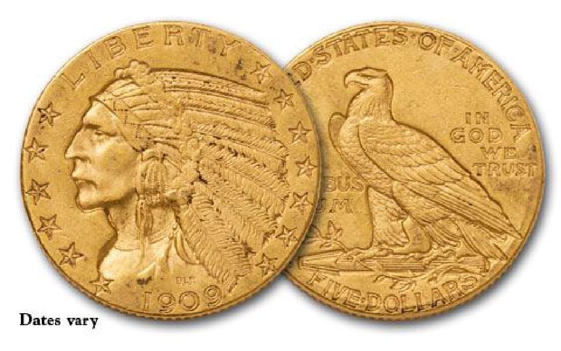 (1) Random Date $5 Gold Indian Common Dates XF-AU